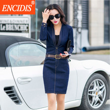 2017 Latest Women Clothing Spring Autumn Long Sleeve Dress Plus Size Blue Bodycon Sexy V-Neck Mini Short Jeans Denim Dresses Q58(China)