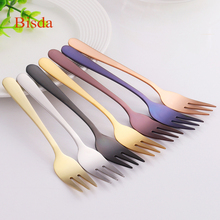 5pcs Tea Fork Set stainless steel Fruit Fork Set Blue Dessert Fork For Cake Snack Gold Small Salad Fork dinnerware set(China)