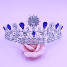 Baroque Silver Blue Crystal Rhinestone Princess Crowns Bridal Wedding Quinceanera Pageant Tiaras For Bride Prom Hair Accessories