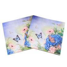 [RainLoong] Purple Flower Paper Napkin Butterfly Festive & Party Supplies Tissue Decoration 33cm*33cm 20pcs/pack(China)
