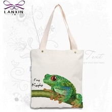 Canvas Women Bag Casual Cotton Tote Fashion frog Handbag Reusable Bag Bolsas Shoppingbag New Women's Shoulder Bags