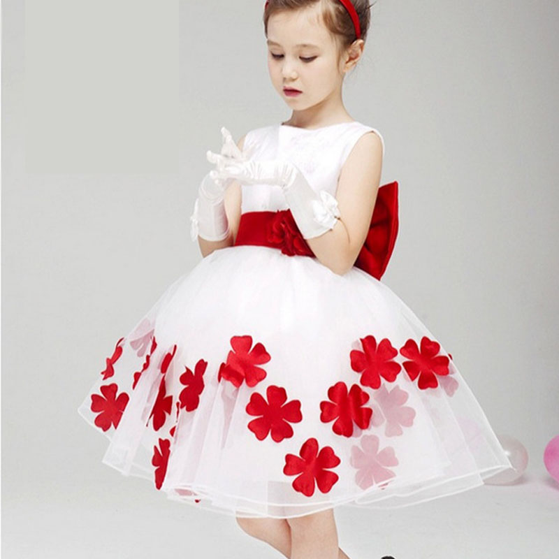 Kids Baby Chiffon Lace Flower Bowknot Party Dress Formal Dress Puff Dresses princess wedding kids dresses vestido infantis<br><br>Aliexpress