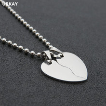 URAKY Jewelry Stainless Steel Love Heart Necklace Pendant, Blank Two Half Part Love Heart Dog tags DIY Logo Jewellery(China)