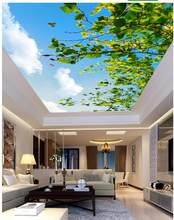 3d mural designs Leafy branches butterfly ceiling Landscape wallpaper murals ceilings Home Decoration(China)