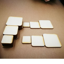 (100pcs/lot)Blank Unfinished Square Wooden Stud Earrings Round Corners Crafts Laser Cut,Customized wedding Square wooden(China)