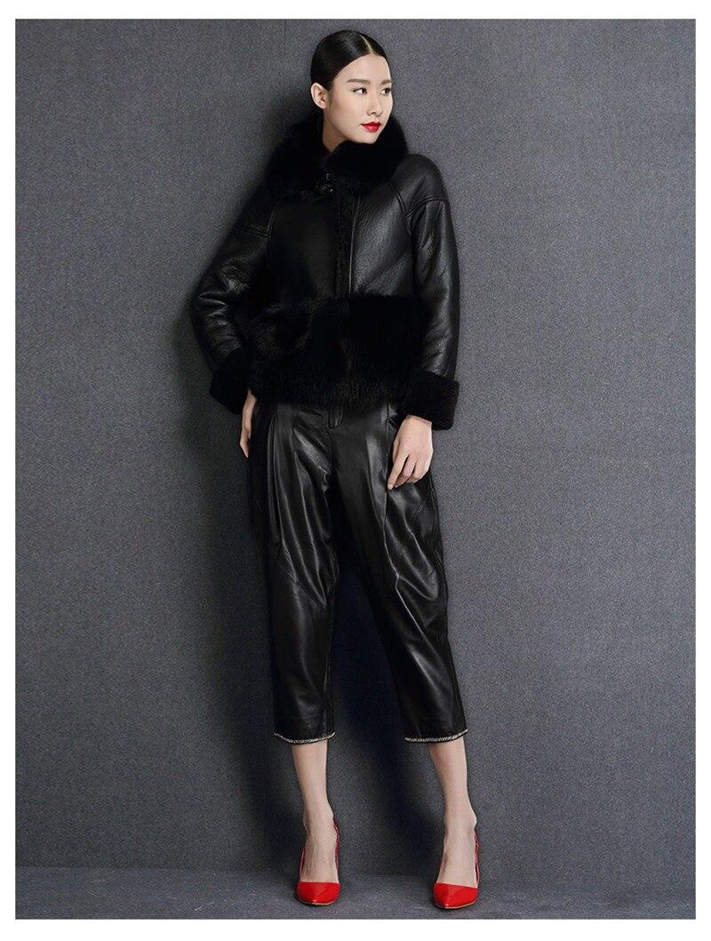 genuine sheep leatherskin jacket fox fur cooar coats (5)