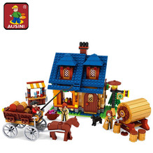 AIBOULLY Farm series 686 pcs Wine House with carriage Building Blocks Sets Kids Educational Bricks Toys h DIY Free Shipping