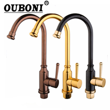 OUBONI 3 Choices Hand Painting Kitchen Sink Mixer Rose Gold Polished Space Aluminium Metal Black Tap Bathroom Faucets(China)