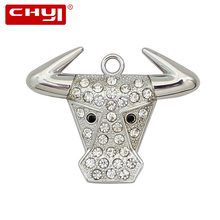 CHYI Creative Neclace USB Flash Drive Pen Drive Oxhead Bull Head Memory Stick 4GB 8GB 16GB 32GB 64GB Pendrive Promotion Gift(China)