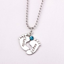 Personalized Engraved Baby Feet Pendant Necklace with Birthstones 2017 Long Birthstone Necklaces Custom Made Any Name YP2483(China)