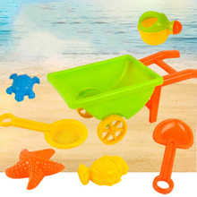 7pcs Kids Funny Tools Trolley Sand Play Toys Set Teapot  Water Beach Children Seaside Bucket Shovel Rake  Building  Molds TY0141