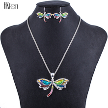 MS1504292Fashion Jewelry Sets Hight Quality Necklace Sets For Women Jewelry Multicolor Alloy Unique Dragonfly Design Party Gift