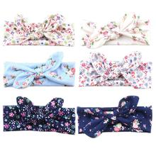 1PC Unisex Cute Girls Boys Flower Turban Rabbit Ear Cotton Spring Headband Bowknot Hairband Head Wrap Hair Band Accessories(China)