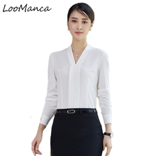 Buy Fashion women clothing long sleeve blouses formal slim v-neck chiffon shirt tops office ladies plus size work wear blusa for $15.57 in AliExpress store