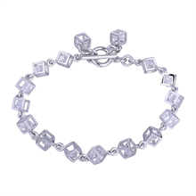 Fashion European and American Zircon Cube Charm Bracelet Jewelry Friendship Bracelets Bangles For Women Gifts(China)