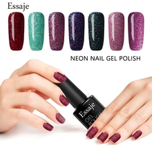 Essaje Cheap Gel Soak Off 8ml UV Gel Nail Polish Bling Neon Color Gel Lak Lucky Varnish Semi Permanent All Glitter For Nail Art(China)