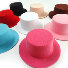 10pcs Hen Party Felt Mini Top Hat Solid Color Mini hat Hair Fascinator Base. DIY hair accessories 12.5cm Good Quality(China)