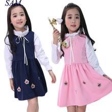 2017 Girls Clothing Academy Autumn New Products Children's Princess Dress Long Sleeve Kids Girl's Warm Dresses Baby Girl Clothes(China)