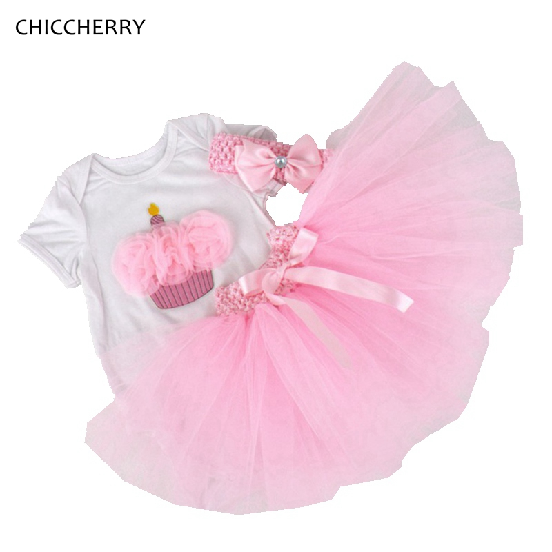 Pink Cupcake Baby Birthday Gift Lace Infant Baby Bodysuit &amp; Tutu Skirt Headband Sets Toddler Romper Ropa Menina Newborn Clothes<br><br>Aliexpress