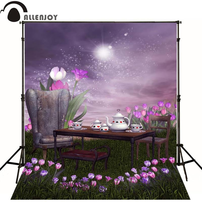 Allenjoy Photographic background Grass purple tulips month newborn vinyl backdrops  photocall camera fotografica wall floor<br><br>Aliexpress