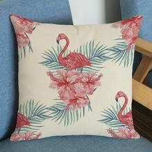 Factory Supply Tropical Pastoral Style Flamingo Printing Soft Short Plush Decorative Sofa Throw Pillow Nordic Cushion