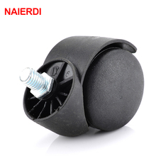 "NAIERDI 2"" Universal Casters Black Mute 360 Degree Swivel Screw Thread Wheels For Office Chair Home Stool Furniture Hardware"