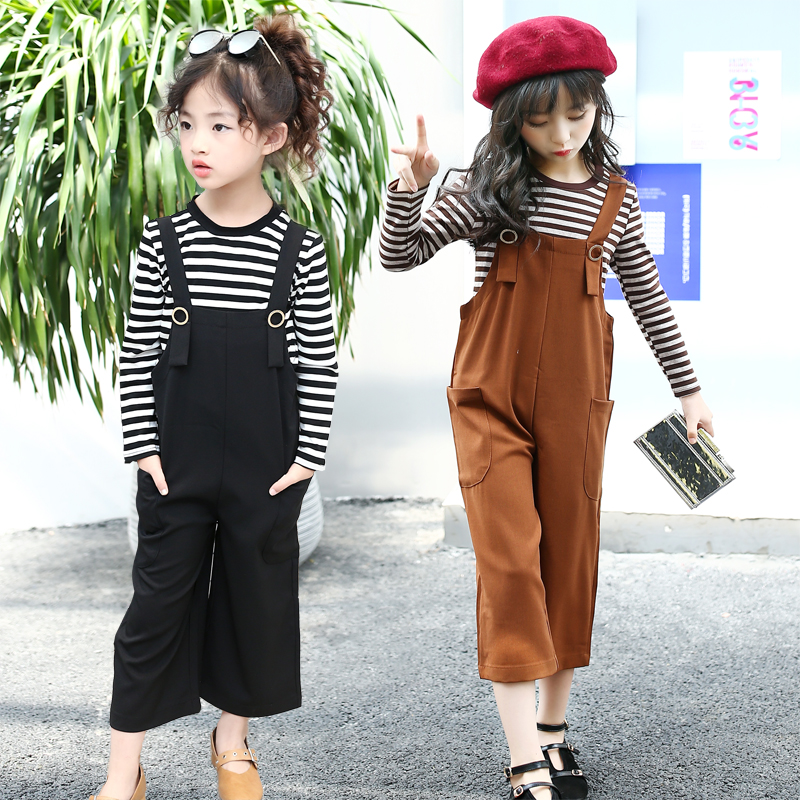 girls long sleeve shirts kids trousers black and white striped shirt girl clothes set 2018 spring autumn casual suspender pants<br>