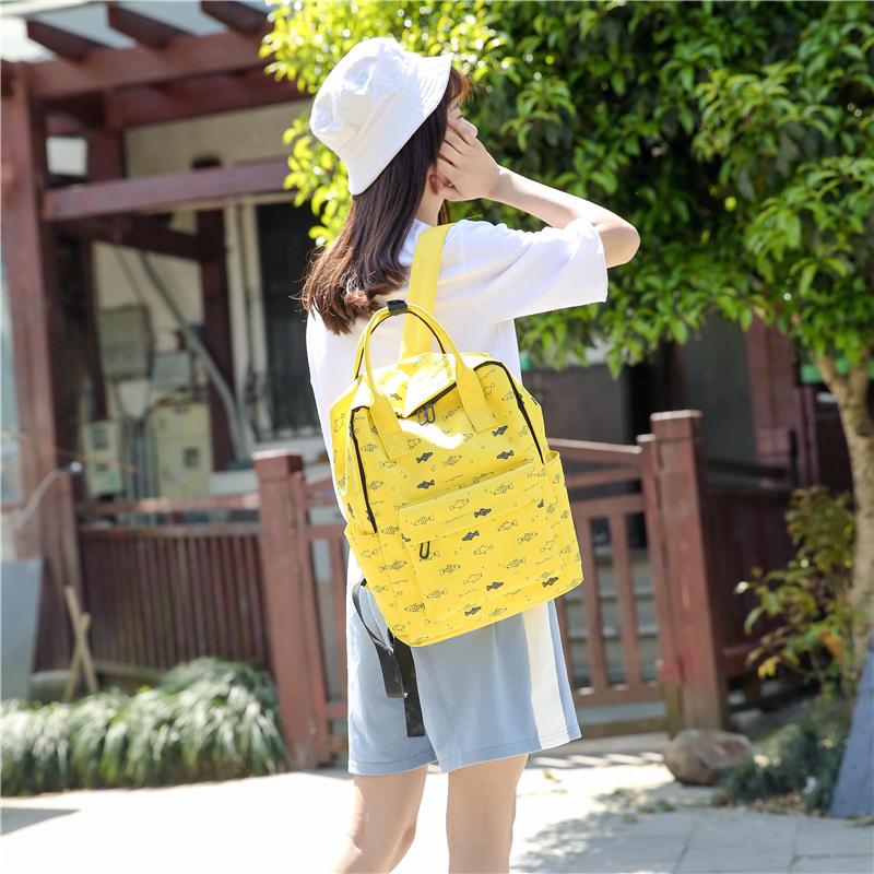 Menghuo Fish Printing Women School Bag Backpack for Teenage Girls Backpacks Female Canvas Children Schoolbag Women Bag s (38)