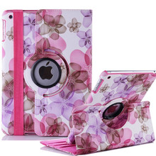 Ultra Stylish Luxury girl Flower leather 360 degree Rotating Cover Stand case For apple ipad 5 ipad Air ipad 2017 9.7 Case cover(China)