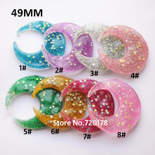 Resin glitter Moon flat back resin moon charms for necklace 49mm 40PCS YZR489(China)