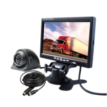 "FREE SHIPPING 12V - 24VDC 4Pin 7"" LCD Car Reversing Monitor Rear Side Front View Car Camera System + 10m Cable for Bus Van Truck"