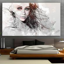 Art blue eyes women fantasy digital art portrait looking at viewer artwork Abstract Photoshop Animal Modern Canvas Spray(China)