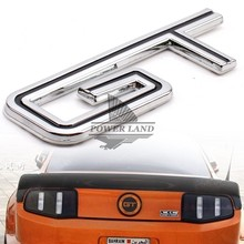 Chrome+Black 3D Refitting Metal Vehicle Trunk Motorcycle Car GT Logo Sticker Badge Emblem Decal Universal For Ford Mustang GT500(China)