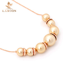 Top Quality Simple Imitation Pearl Jewellery Rose Gold Color Pendant Necklace Wholesale N544 N545