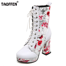 TAOFFEN Women Shoes Women Boots Lace Up High Heel Squared Heels Print Flowers With Fur New Design Fashion Footwear Size 33-43(China)