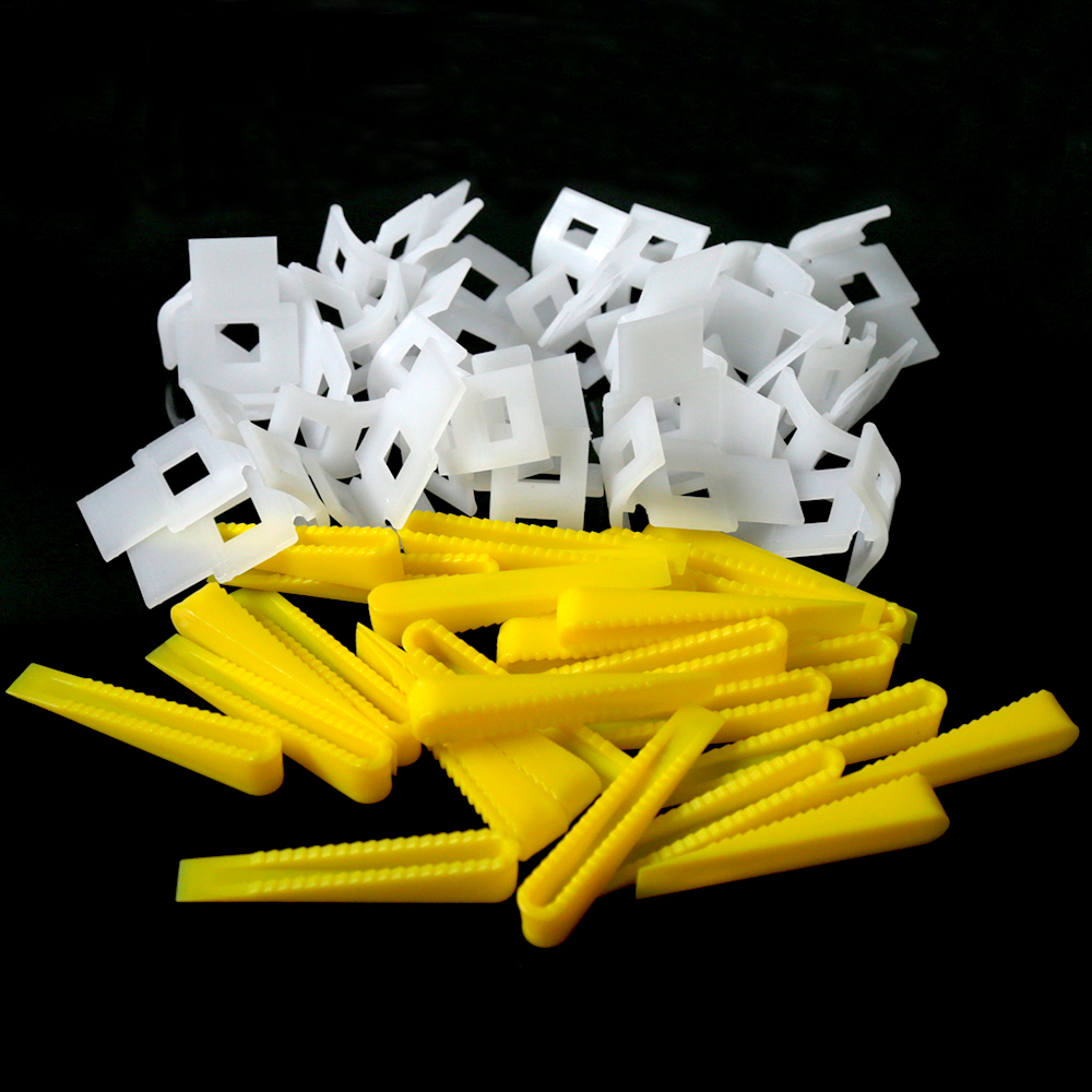1 Pack 500 Clips + 200 Wedges Floor Wall Tile Leveler Spacers Flat Leveling System Tools<br>
