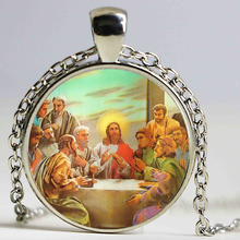 Blessed Virgin Mary Mother of Baby necklace Jesus Christ Christian pendant Catholic Religious Glass Tile Pendant Necklace