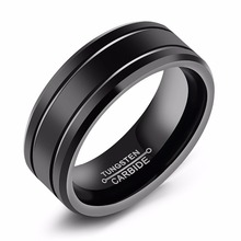 8mm High Polish 2 Rows Grooved Black Tungsten Carbide Weddding Rings Beveled Edges Design Free Engraving