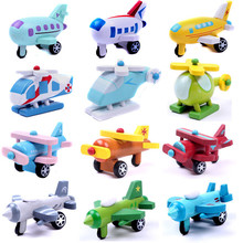 12 PCS/ Set Export Children Diecasts Wooden Airplane Toys 5CM Cartoon Minicar Model Vehicle Wood Mini plane Baby Toys Kids Gift