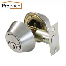 Probrico 10 PCS Stainless Steel Round Home Door Cylinder Security Lock/Deadbolt Safe Key Lock Set Satin Nickel DLD102SNDB(China)