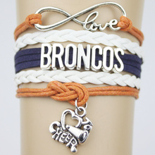 10pcs/lot Infinity Love Denver Broncos San Diego Chargers Football Team Charms Bracelet Orange White Blue Leather Bracelets(China)