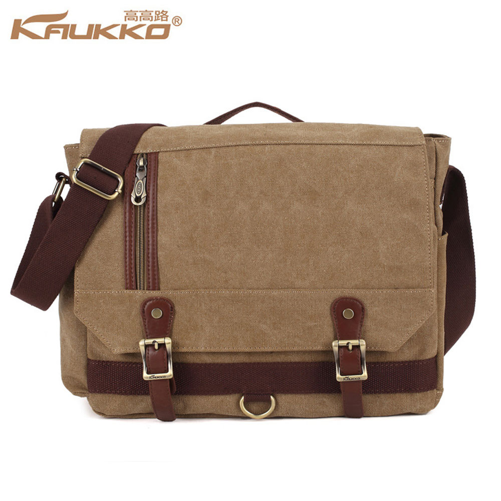 KAUKKO Multifunction Practical Vintage Canvas Shoulder Messenger Crossbody Bag Men Casual Business School Handbag Large Capacity<br>
