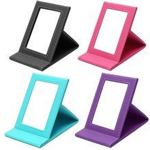 Tabletop Vanity Makeup Mirror Portable Folding Mirrors With PU Leather Standing Case Colorful Cosmetics Multi-used Tool Large