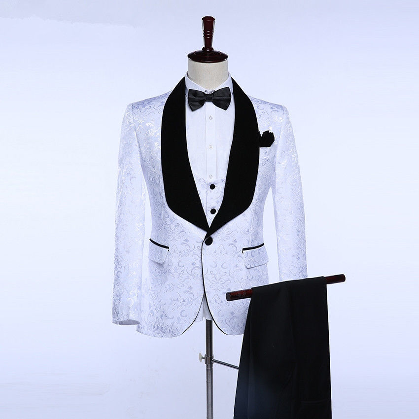 2-1 White Formal Black Velevt Lapel Men\'s Wedding Suits Formal Prom Groomsman Tuxedo