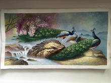 100% handpainted painting animal peacock river stone flower landscape manual oil painting classical handmade oil painting(China)