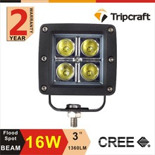 Factory Direct Selling 3inch 4leds*4W 16W LED Work Light for Offroad IP67 12V 24V HeadLamp Truck Tractor SUV ATV 4WD LED running