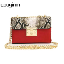COUGINM Newest Fashion Women Messenger Bags Sexy Style  Snake Grain Stamp Chain Shoulderbags Crossbody PU Leather Bags For Women