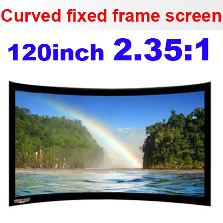 large projection screen multimedia 120inch full hd manual curved fixed frame projection projector