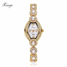 Buy Xinge Women Gold Bracelet Watch Luxury Crystal Pearl Wristwatch Women Dress Zircon Watches Clock Sport Business Quartz Watch for $34.31 in AliExpress store
