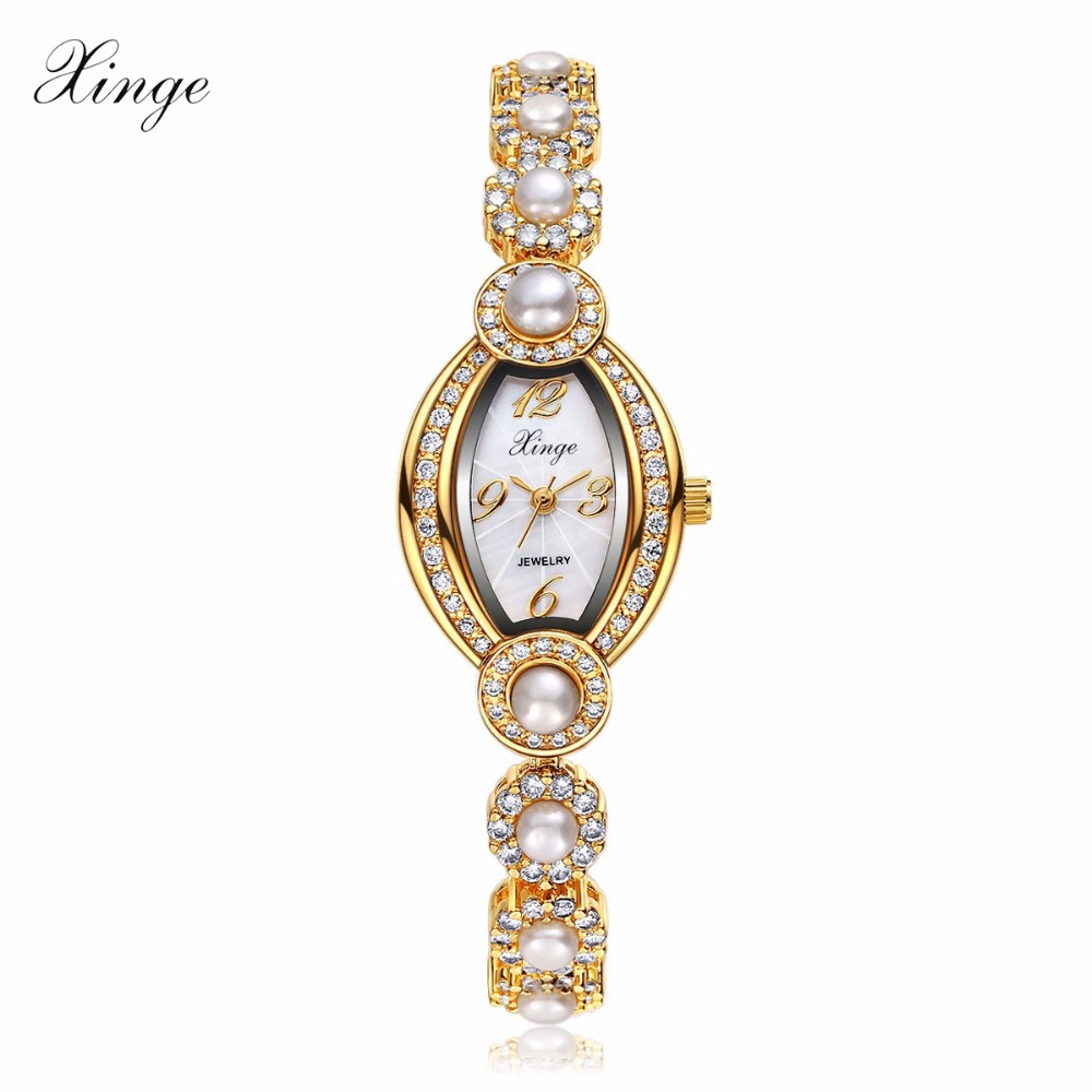 Xinge Women Gold Bracelet Watch Luxury Crystal Pearl Wristwatch Women Dress Zircon Watches Clock Sport Business Quartz Watch<br>